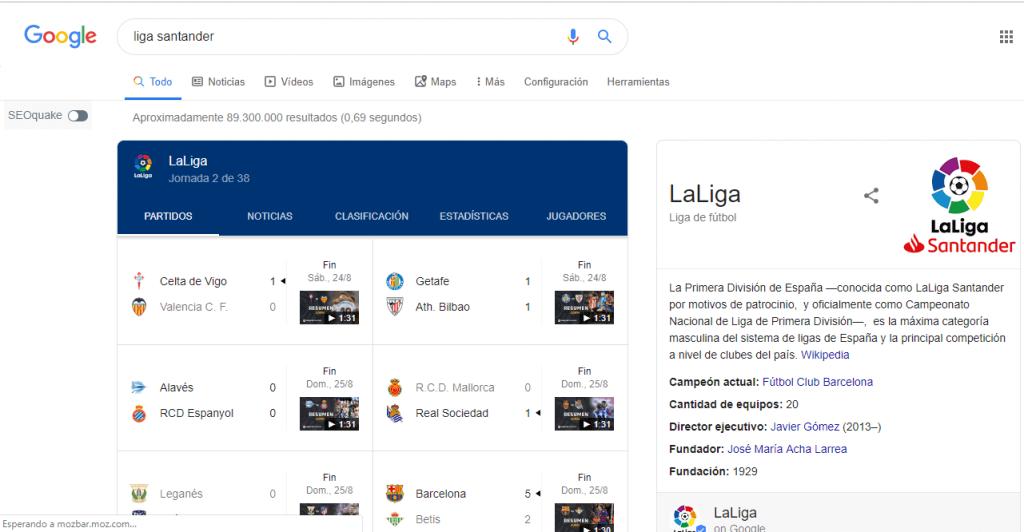 resultados liga Santander