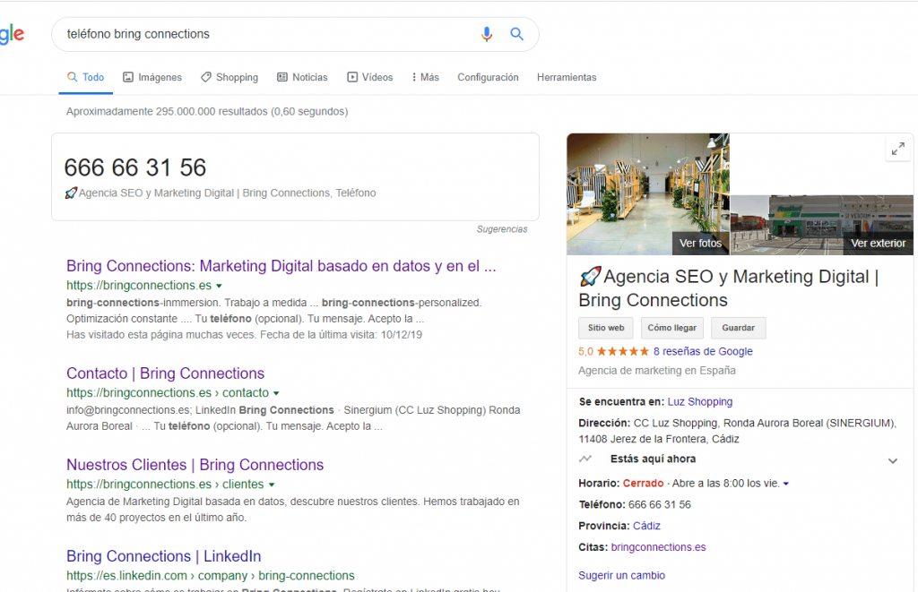 SEO local resultado SERP