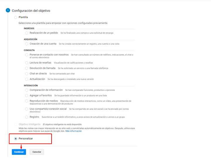 Pantalla de configuracion de objetivos google analytics