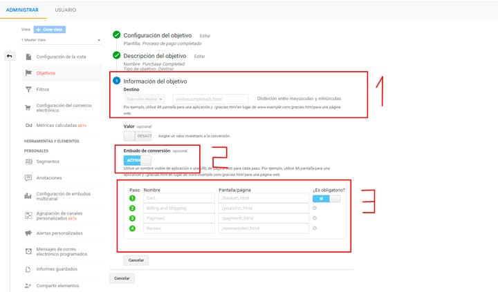 Introduccion de informacion de objetivo en google analytics