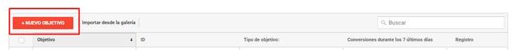 Creacion de nuevo objetivo en google analytics