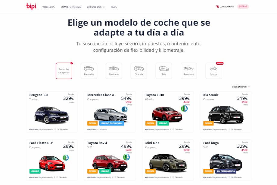 sitio web renting coches